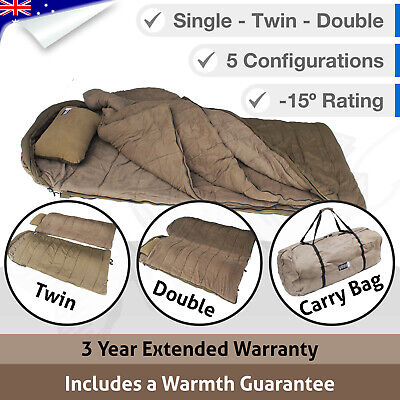 5 in 1 Double Outdoor Camping Sleeping Bag Hiking Thermal Winter Twin -15°C XL