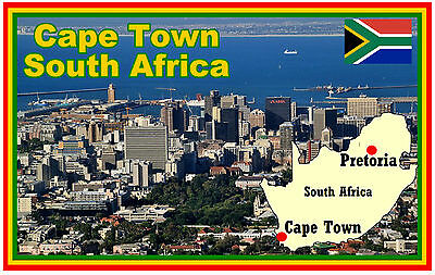 Cape Town, South Africa, Map & Flag - Souvenir Fridge Magnet - New / Gifts