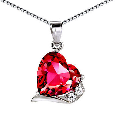 6.06 Ct Created Ruby Heart Cut Pendant Necklace 925 Sterling Silver w/ Chain