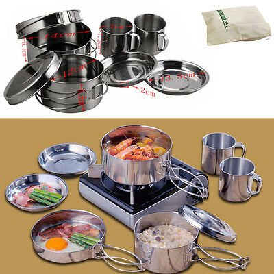 8pcs Stainless Steel Camping Picnic Backpacking Cookware Pot Dish Bowl Cup Set