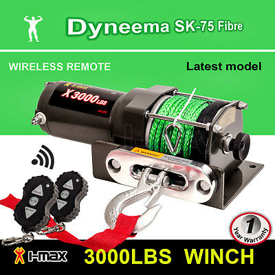 12V Wireless 3000LBS 1361KGS Electric Winch Synthetic Rope Green ATV 4WD BOAT