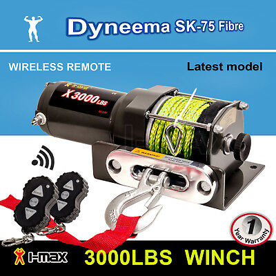 12V Wireless 3000LBS 1361KGS Electric Winch Synthetic Rope Yellow ATV 4WD BOAT