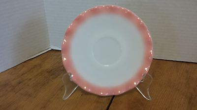 "Hazel Atlas Pink ruffled saucer 5 5/8"" Depression glass Crinoline Crimp"