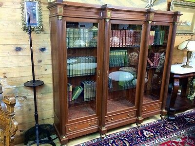 3 Door Mahogany French Empire Bookcase With Brass Inlay Horner