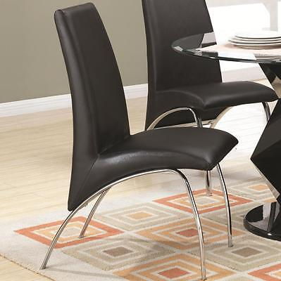 Ophelia Black Vinyl and Metal Dining Side Chair by Coaster 120802 - Set of 2