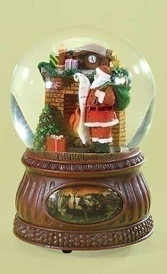 Roman Christmas Santa By Fireplace Musical Waterglobe Waterball New 2014 32071