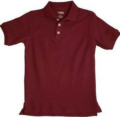 French Toast Unisex Short Sleeve Polo Burgundy  New  School Uniform