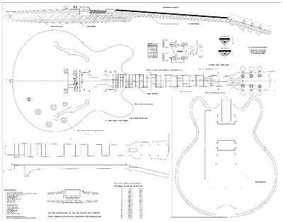 Gibson ES335 archtop Electric Guitar Plans -  full scale -  Actual Size