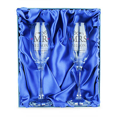Personalised MR & MRS Champagne Flute Glasses Wedding Gift Set - Gift Boxed