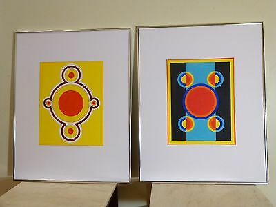 ABSTRACT POST MODERNIST GOUACHE PAINTING Mid Century Modern Signed Pair