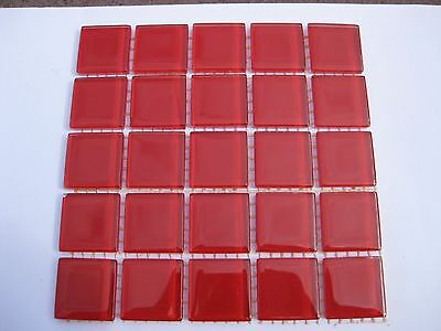 """Red Glass Tiles 25 x pcs for MOSAIC & Glass Crafts Approx """"2.2cm x 2.2cm"""""""