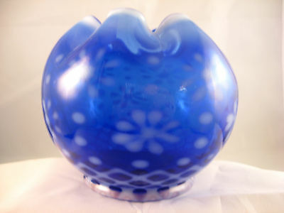 Gorgeous Cobalt Blue Snowflake Rose Bowl by LG Wright Glass EXC