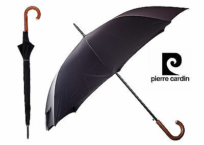 Pierre Cardin Black umbrella Brown wooden hook handle Auto open paraguas