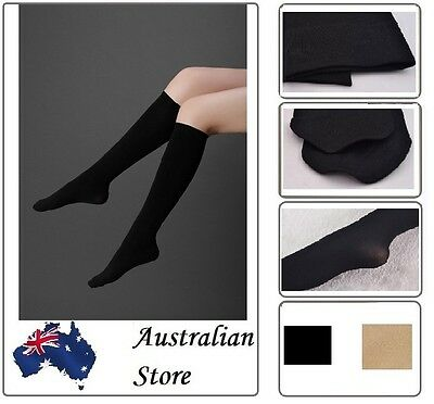 Ladies Women Elastic Opaque Knee High Stockings Silk Long Socks Black Beige