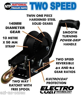 Boat Trailer Two Speed Hand Winch With 10M Strap 910Kg 4:1 & 8:1 Gear Ratios