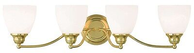 Somerville Polished Brass Livex 4 Light Bathroom Vanity Fixture Sale 13674-02