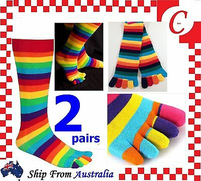 2Prs WOMENS GIRLS Cotton KNEE HIGH TOE SOCKS Rainbow Stripe Party Costume Ball