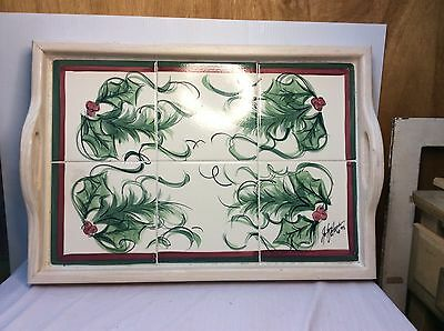 """Gail Pittman Wood And Tile Tray Hollylujah Pattern 13.75"""" X 19.75"""""""
