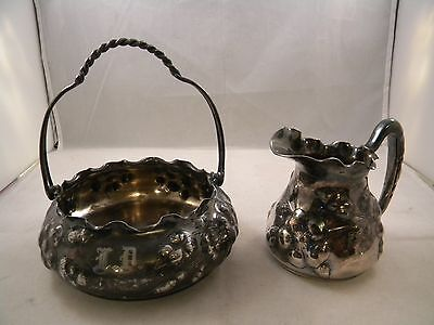Antique Reed & Barton Silver Plate Sugar Cube Basket & Creamer