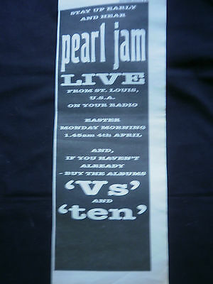 PEARL JAM - LIVE FROM ST LOUIS 04/04/94 - B/W ADVERT - 15 x 5 inch