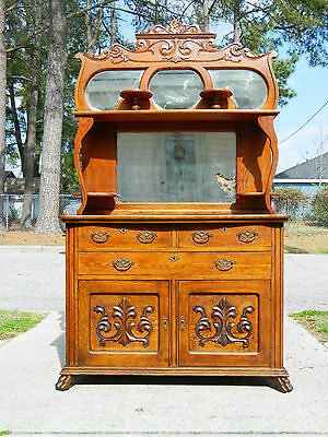 Tiger Oak Buffet/Sideboard with Mirrored Top circa 1890
