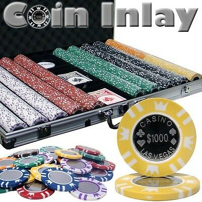 New 1000 Coin Inlay 15g Clay Poker Chips Set with Aluminum Case - Pick Chips!