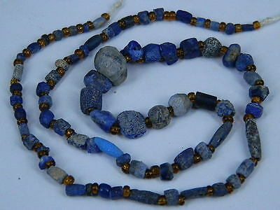 Ancient Bactrian Lapis Beads Strand C.300 BC