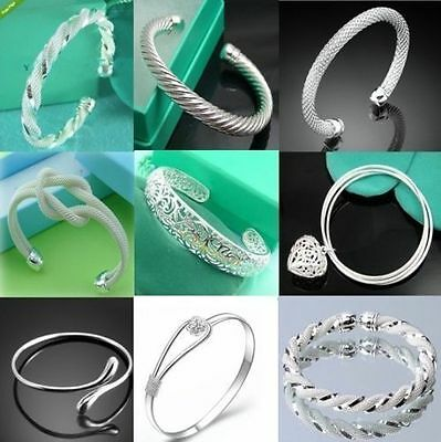 Wholesale Fashion Women Jewelry 925Solid Silver Lady Silver Bangle/Bracelet