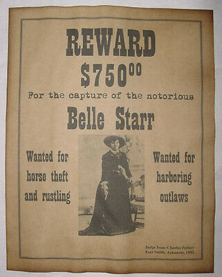 Belle Starr Wanted Poster, Western, Outlaw, Old West