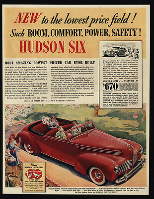 1940 HUDSON SIX Red Convertible Car - VINTAGE AD