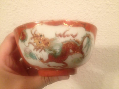 Vintage Asian Chinese Signed Porcelain Cup / Bowl w/ Dragon & Phoenix Decoration