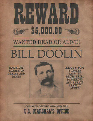 Bill Doolin Wanted Poster, Western, Outlaw, Old West