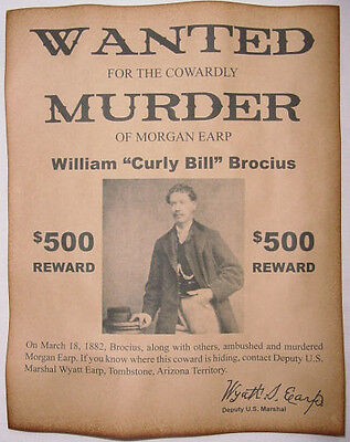 Curly Bill Brocius Wanted Poster, Western, Outlaw, Old West