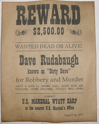 Dirty Dave Rudabaugh Wanted Poster, Western, Outlaw, Old West