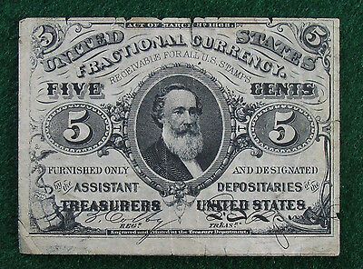 1863 5 Cent 5c Fractional Currency Note; 3rd Issue Note; FR # 1239