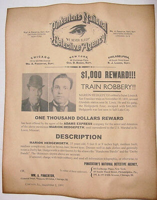 Marion Hedgepeth Wanted Poster, Western, Outlaw, Old West, Pinkertons