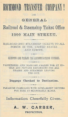 OLD 1881 RICHMOND TRANSFER CO. & GENERAL RAILROAD & STEAMSHIP TICKET OFFICE AD