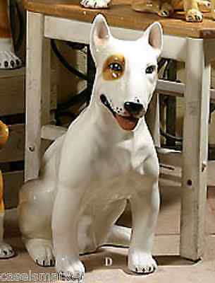 Intrada Italian Ceramic White Bull Terrier Handcrafted Dog Statue Made in Italy