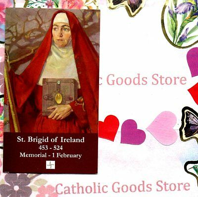 """St Brigid of Ireland  with prayer  (2"""" x 3 1/2"""") Heavy Paperstock Holy Card"""