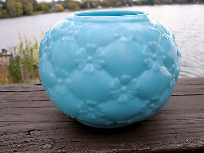 Northwood Quilted Phlox Opaque Blue Rose Bowl- CLASSIC PATTERN!