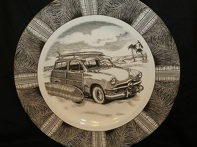 """222 Fifth Slice of Life """"Surf Woody"""" Dinner Plate WOOD PANELED STATION WAGON"""