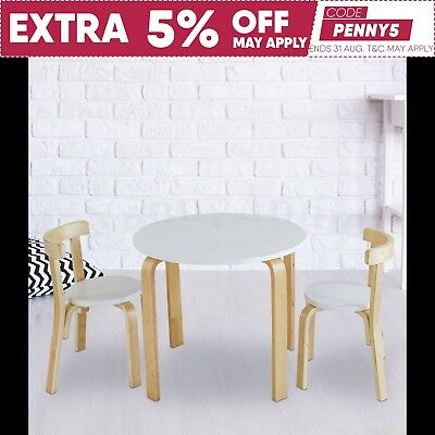 Nu Hyams Kids Wooden Table & 2 Chairs Set -  White