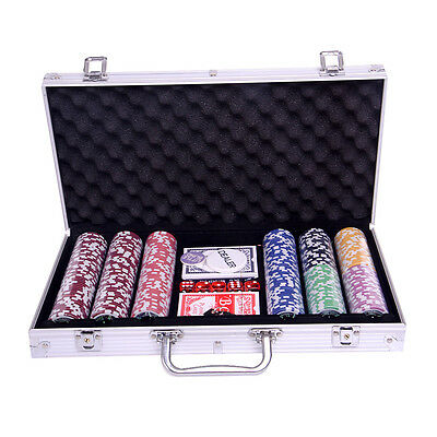 New Professional 300 Piece Casino Poker Chip Set w Aluminium case & 2 Games Card