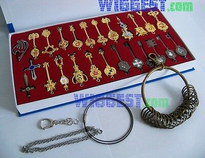 25 Pcs Lucy Heart Key Chain with Keyring Fairy Tail Celestial Spirit Gate Keys