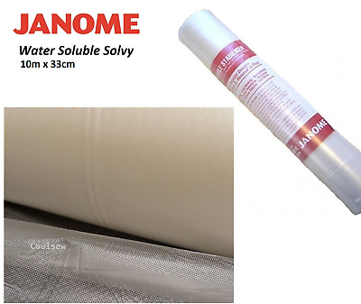JANOME WATER SOLUBLE STABILISER Backing 10m x 33cm Water Wash Away Dissolvable