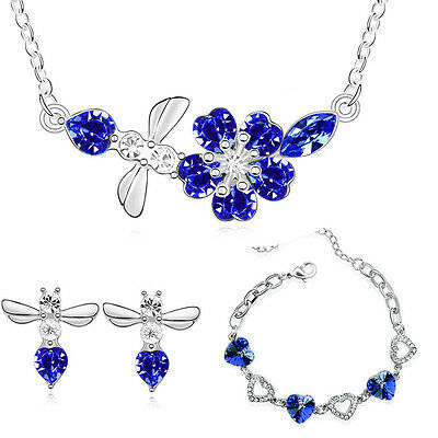 Silver Royal Dark Blue Jewellery Set Hearts Drop Earrings Necklace Bracelet S653
