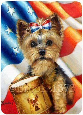 Yorkshire Terrier Yorkie dog ART mouse pad LIBERTY Independence day w/ USA flag