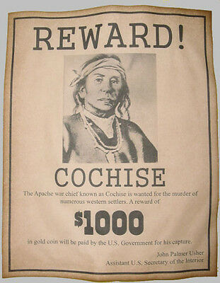 Cochise Wanted Poster, Western, Old West, Indian, Apache