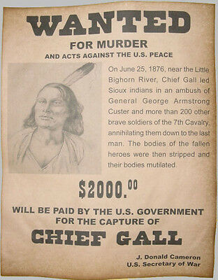 Chief Gall Wanted Poster, Western, Old West, Indian, Lakota, Custer