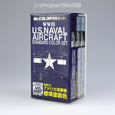 (26,50€/100ml) Mr. Color WWII U.S.Naval Aircraft Color Set - Mr.Hobby CS682